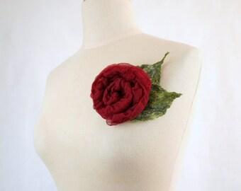 Silk Felted Rose Brooch, Nunofelt Rose Brooch
