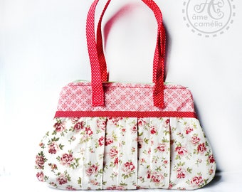 Bag was Bohemian, handles, cotton red and white