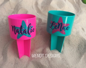 Starfish Beach Cup Holder, Beach Spiker, Personalized Spiker, Monogram, Beach Spike, Drink Holder, Sand Spike