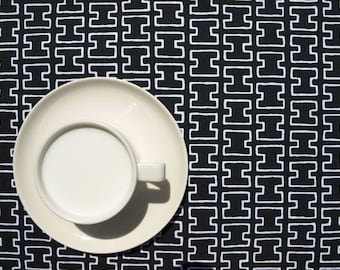 Tablecloth black and white geometrical figures , table runner , napkins , curtains , pillows available, great GIFT