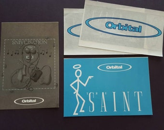 Rare Orbital stickers and postcard