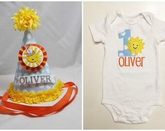 Boy Sunshine 1st Birthday Shirt & Party Hat Set- Personalized- You Are My Sunshine