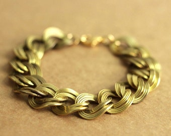 chunky chain bracelet in vintage brass