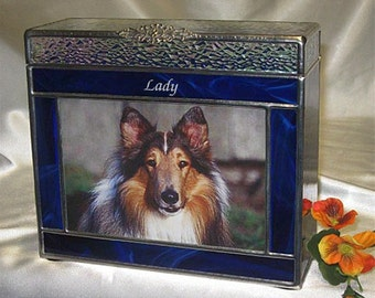 """Pet Urn Medium #7A Photo Frame Pet Cremation Urns in Stained Glass - accepts a 4"""" x 6"""" photo"""
