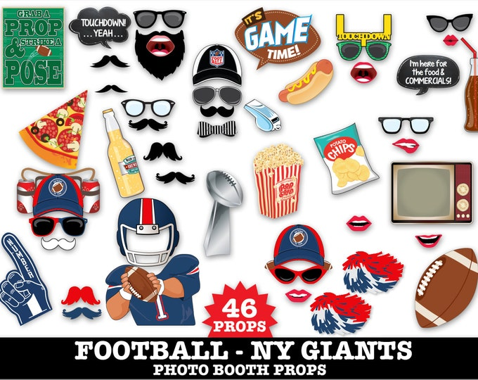 NY Giants Football Photo Booth Props - Bowl Party- Football Party - Instant Download PDF - 46 DIY Printable Props