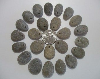 BEACH SEA STONE 16mm Beads 24 Top Drilled Pendants Flawless Khaki Grey Real Surf Tumbled Natural Stones Jewelry Rock Pebble Bead  Peb 1498