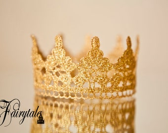 """Princess or Prince Newborn Crown Prop Baby Glimmer Crown Newborn Infant photography Gold Copper Silver 2"""" Height Crown Glitter Sparkle Crown"""