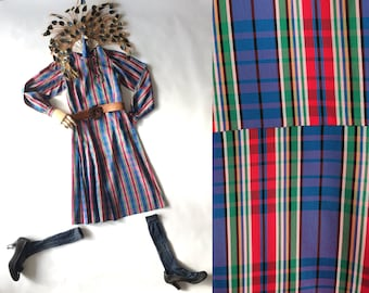 1960's Tartan Plaid Taffeta Midi Dress/ Red Green Blue/ Slim Fit Tailored