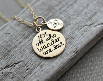 not all who wander are lost - bronze and 14k gold filled charm necklace - Compass charm - Wanderer Quote - Traveler jewelry
