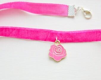 flower choker, flower charm, rose flower, choker with flower, pink velvet choker, daughter necklace, daughter gift, daughter choker