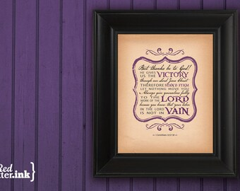 Wall Art (FUNDRAISER) - He Gives Us the VICTORY I Corinthians 15:57-58 - 8 x 10 Print