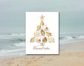 Sea Shell Xmas Card / Set of 10 / Tropical Christmas / Beach Ocean, Nautilus, Conch, Sand Dollar, Starfish, Pearls / Coastal Greeting Card