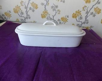 Vintage French White Ceramic Terrine