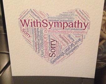 With sympathy, condolences card