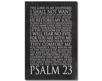 CANVAS Wall Art - Psalm 23 The Lord is my shepherd I shall not want - Bible verse Twenty third Psalm - Typography Inspiration Wall Decor
