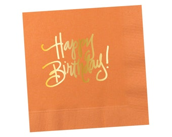 Napkins | Happy Birthday - Peach-y Orange