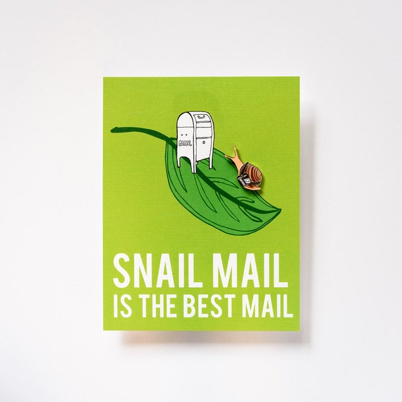 Snail Mail Love Enamel / Lapel Pin + Snail Mail is the Best Mail Postcard Holiday Stocking Stuffer