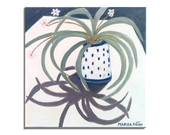 Canyaret, Spider Plant, Original Plants Paintings, Small Painting, Still Life Plants, Greenery, Small Floral Art