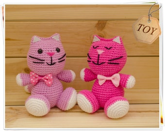 Crochet Cat, Amigurumi Cat, Crochet Pink Cat, Crochet Pink Kitty, Cat Stuffed Toy, Crochet Cat Toy, Handmade Cat, Plush Cat, Twin Kittens