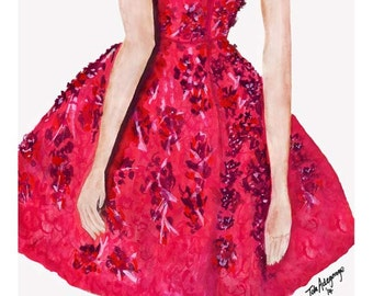 Cherry Blossom Gown Fine Art Giclee Print from Original Watercolor Fashion Illustration Artwork