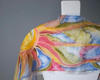 Hand Painted Silk / Painted Scarf /JOY/ Silk art /Silk elegant / Gift for her, friend's,mothers, teacher's, girlfriend