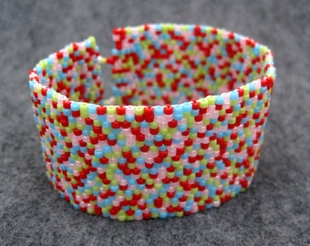 SALE Beaded Cuff Bracelet - Color Explosion by randomcreative on Etsy
