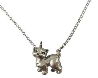 Cat Unicorn Necklace      kitten kitty silver gold jewelry unikitty unicat