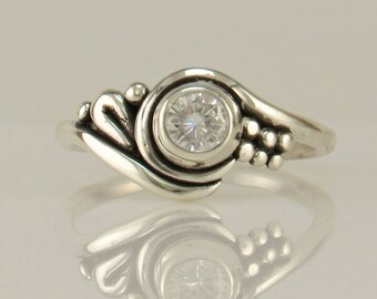 Sterling Silver Moissanite Ring/ Silver Engagement Ring/ One of a Kind Ring/ Charles and Colvard/ Princess Ring/ Promise Ring/ Diamond
