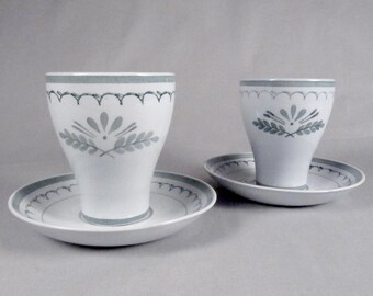 Arabia, Green Thistle, Handpainted, Pair of Cups and Coasters, set
