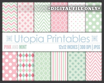 Pink And Mint Green Digital Paper Pack Set Polkadot Chevron Striped Digiscrap Background Pattern Design White Printable Commercial Use