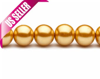 4-16mm antique gold round glass pearl