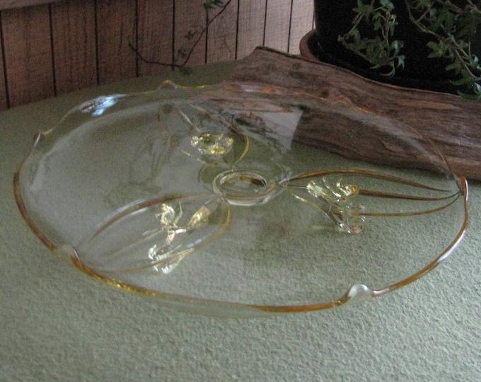 Fostoria Yellow Depression Glass Cake Plate Footed Vintage Dessert Tray
