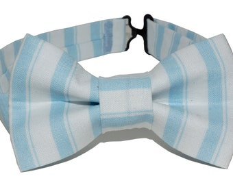Bow Tie - Blue and White Striped Bowtie