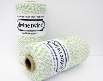 Green Apple Divine Twine- full spool, 240 yards, lime and white, cotton string, bakers twine