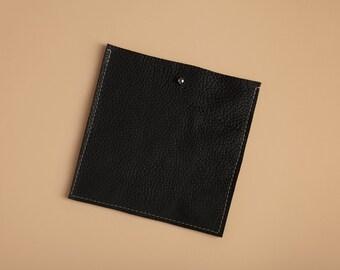 Square Pocket Insert - True Black Leather