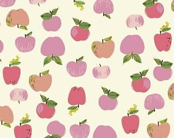 Heather Ross Kinder Fabric, Pink Apples fabric, Windham Fabrics SKU 43483-1, half yard quilting cotton, fruit fabric, apple fabric