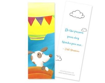 Dog Bookmark - Puppy's Balloon Ride