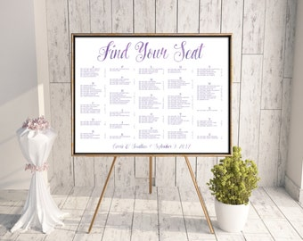 Wedding Seating Chart, Reception Seating Chart, Printable Seating Chart, Seating Chart PDF, Find Your Seat, Watercolors, Purple, jpg, Carrie