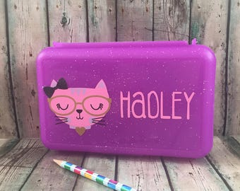 Cat Pencil Box - Pencil Box Kids - School Supply Box -  Personalized Pencil Box - Pencil Case - Plastic Pencil Box - Art Box - School Box