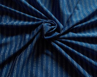 Retro Synthetic Crepe Dress Fabric - 1960's/early 1970's - French blue with white 'stripes' colourway - priced by the metre - Unused