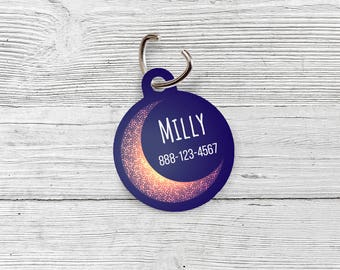 Moon Pet Tag | Personalized Pet Tag | Pet ID Tag | Dog Tag | Cat Tag | Dog Collar Tag | One-sided | Moon