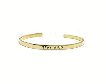 Stay Wild Handstamped Skinny Cuff // Feminist Jewelry + Mantra Bracelet + Moon Child + Wanderlust + Gypsy + Inspirational + Gift For Her