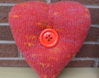 Handmade hand knitted plump heart shaped mini cushion