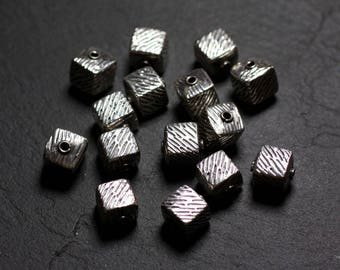 1pc - bead Cube Zebra 9 mm - 4558550086464 925 sterling silver