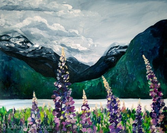 Lupines by the Sea, British Columbia Landscape Painting - Photo Print