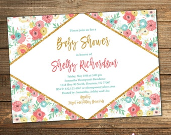 Girl Baby Shower Invitation, Floral, Baby Shower Invitations, Spring Shower, Baby Girl, Coral Teal Gold, Spring Flowers, (PRINTABLE FILE)
