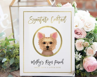 Signature Cocktails Sign for Wedding Bar - Wedding Bar Sign with Dog - Wedding Cocktail Sign - Wedding Sign with Pet - Custom Bar Sign