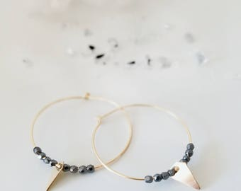 Beaded Hoops | Hematite | 14K Gold Filled | Arrowhead Charm | Delicate Necklace | Dainty | Gifts for Her