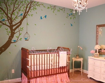 Branch wall decal with flying birds vinyl baby wall decal nursery tree decal branch decal wedding wall decal-DK088