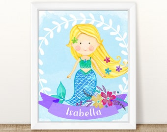 Personalized Baby Gift. Mermaid Nursery Art. Mermaid Gift. Mermaid Baby Shower Gift. Mermaid Birthday Party Gift. Personalized Nursery Art.
